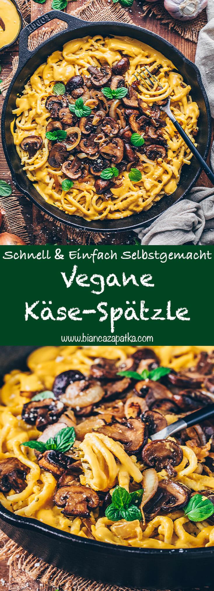 Vegane Käse-Spätzle mit Zwiebeln und Pilzen