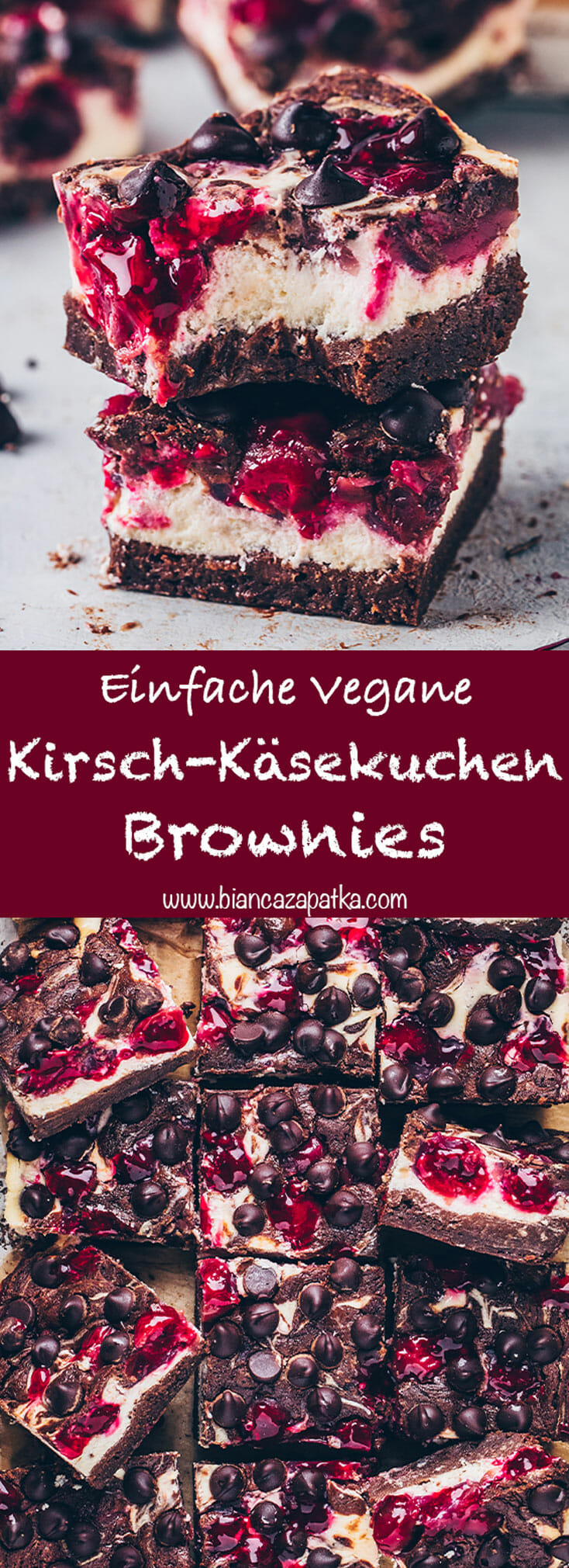 Käsekuchen-Brownies mit Kirschen