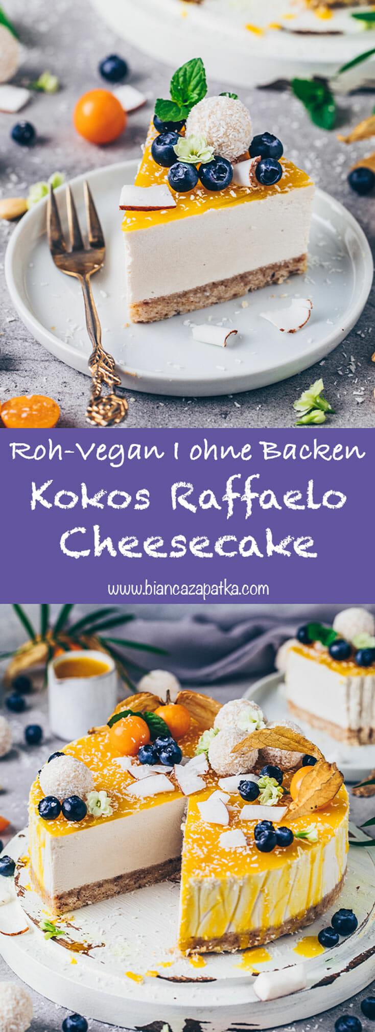 Kokos Cheesecake Raffaelo Torte ohne Backen (Roh Vegan)