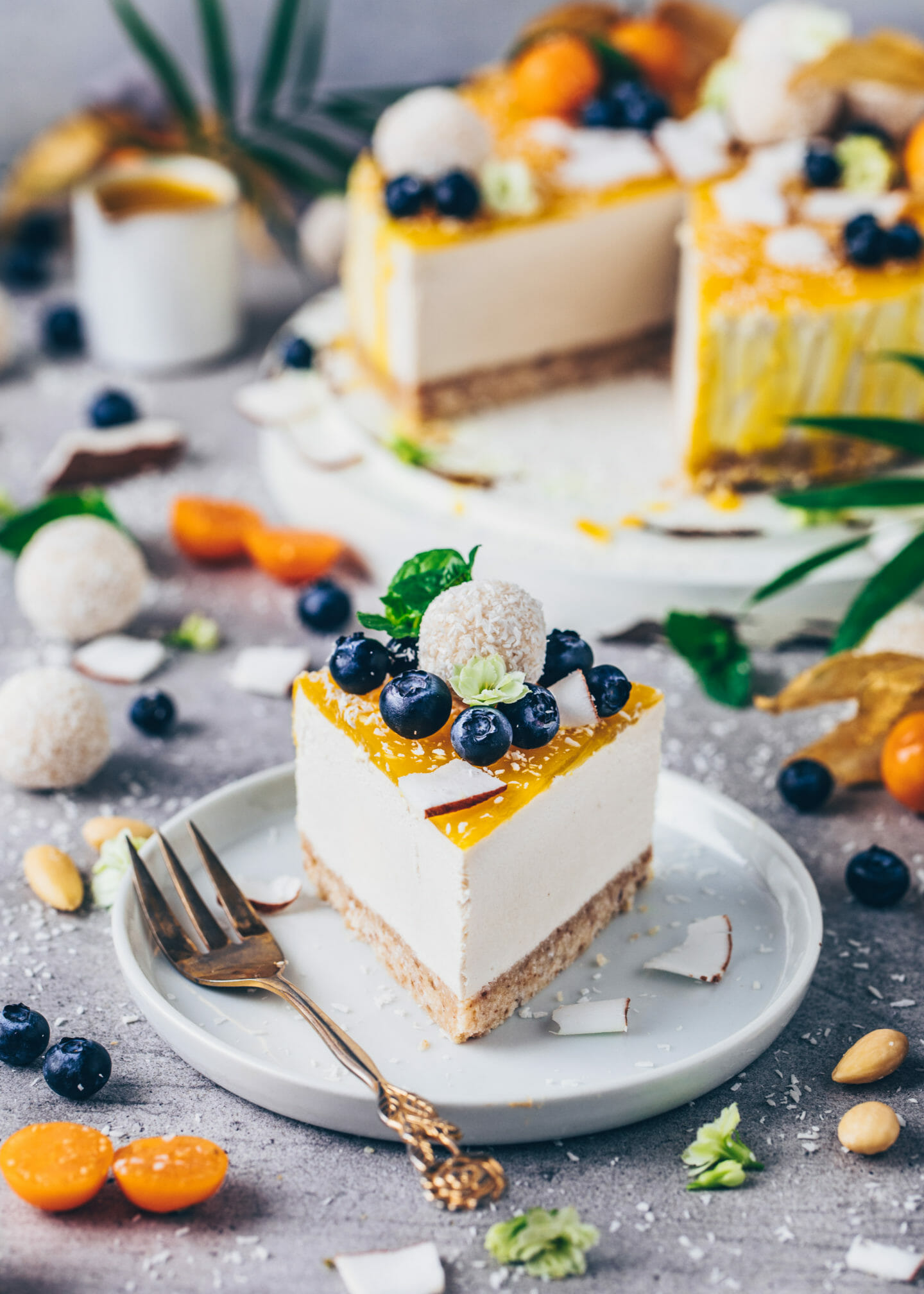 Vegan Coconut Cheesecake (No-Bake Raffaelo Cake)