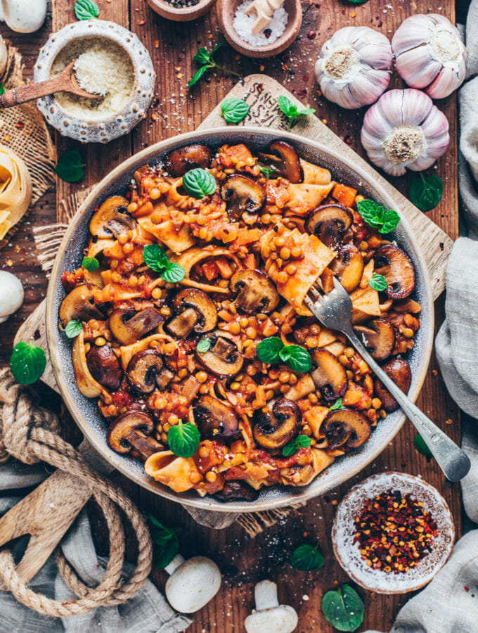 Mushroom and lentil Ragu with Pappardelle Pasta (Vegan Bolognese)