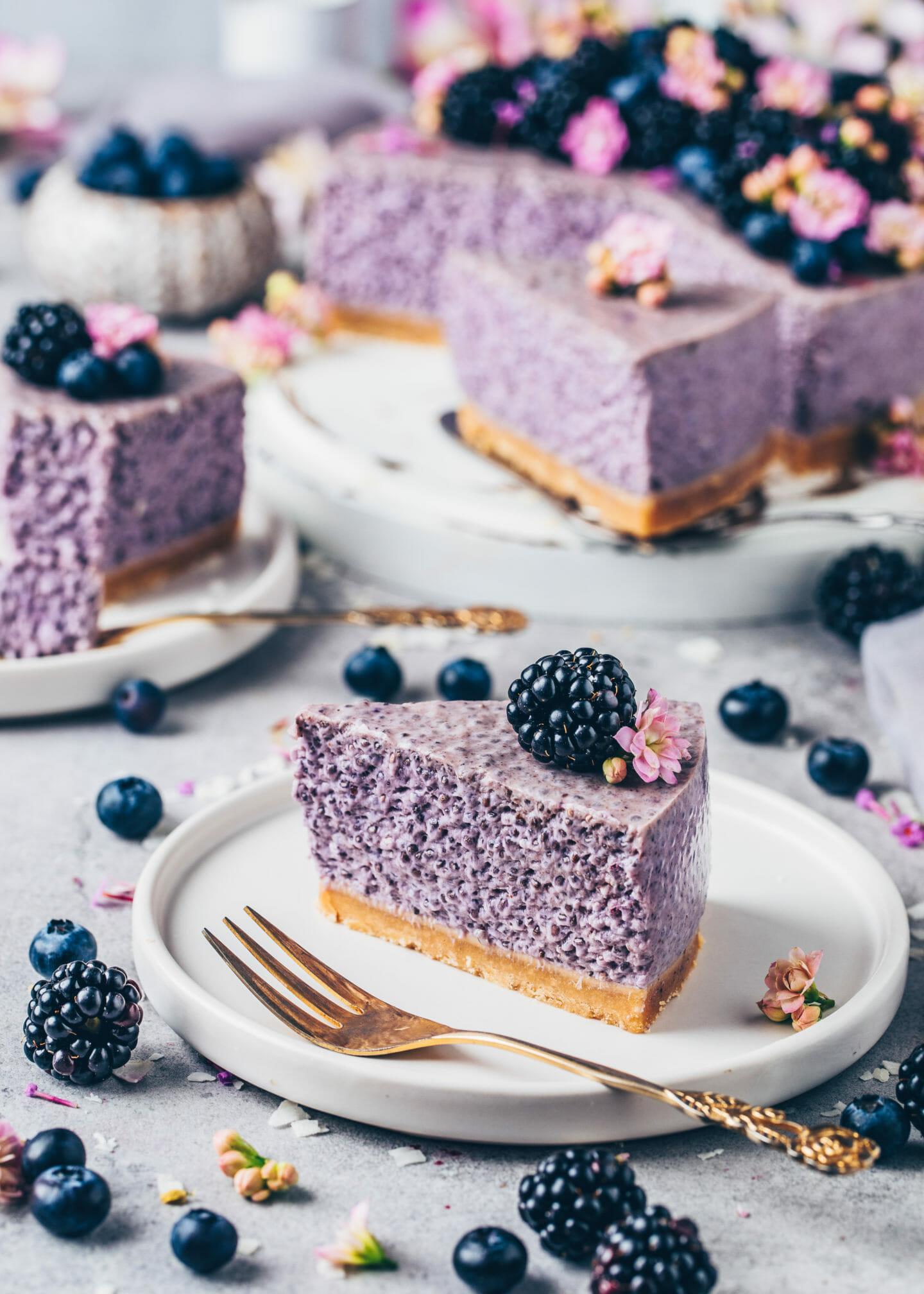 Blaubeer-Chia-Torte (Kuchen ohne Backen)