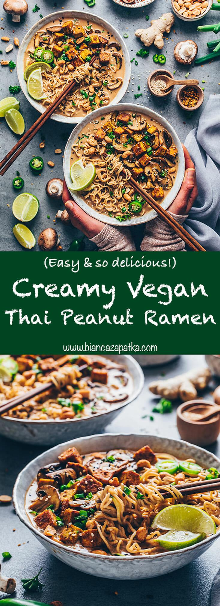 Thai Peanut Ramen Soup (Easy Vegan Noodle Soup)