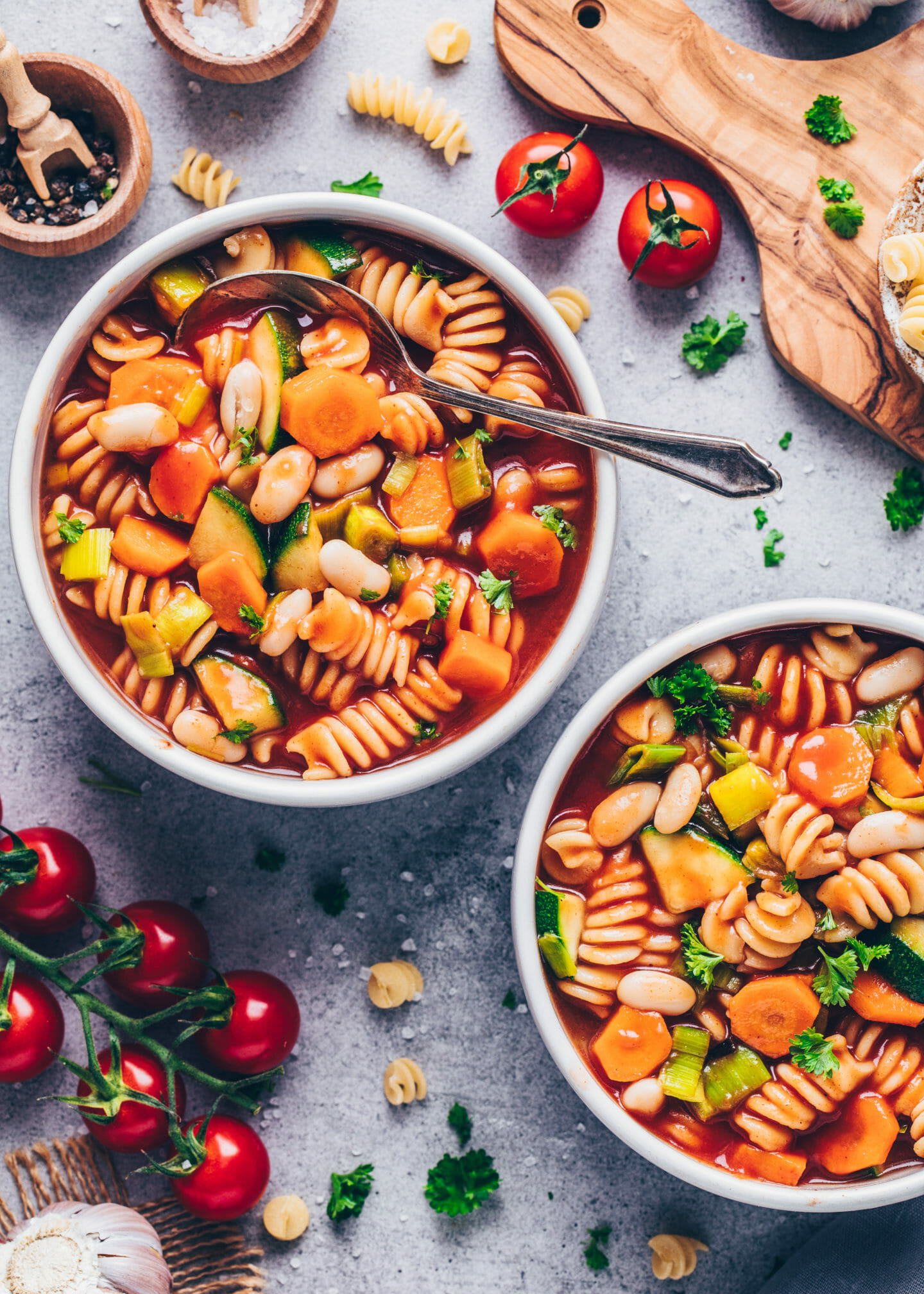 Vegan minestrone soup with vegetables and pasta