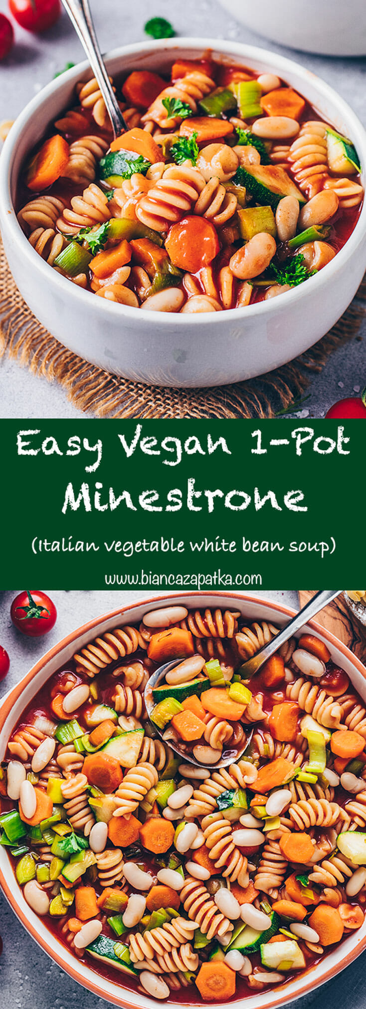 Vegan Minestrone Soup (Easy one-pot vegetable white bean stew with pasta)