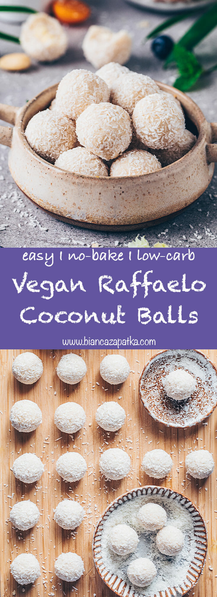Vegan Raffaelo Coconut Balls (healthy, easy, low-carb, paleo)