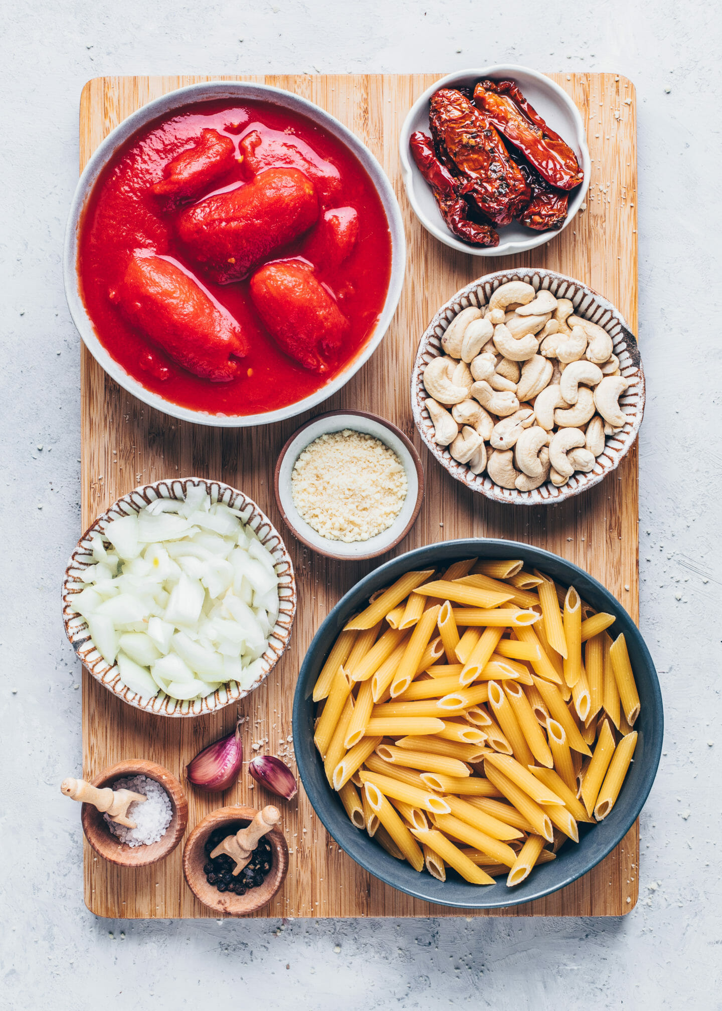 Ingredients for Vegan Tomato Cashew Cream Pasta