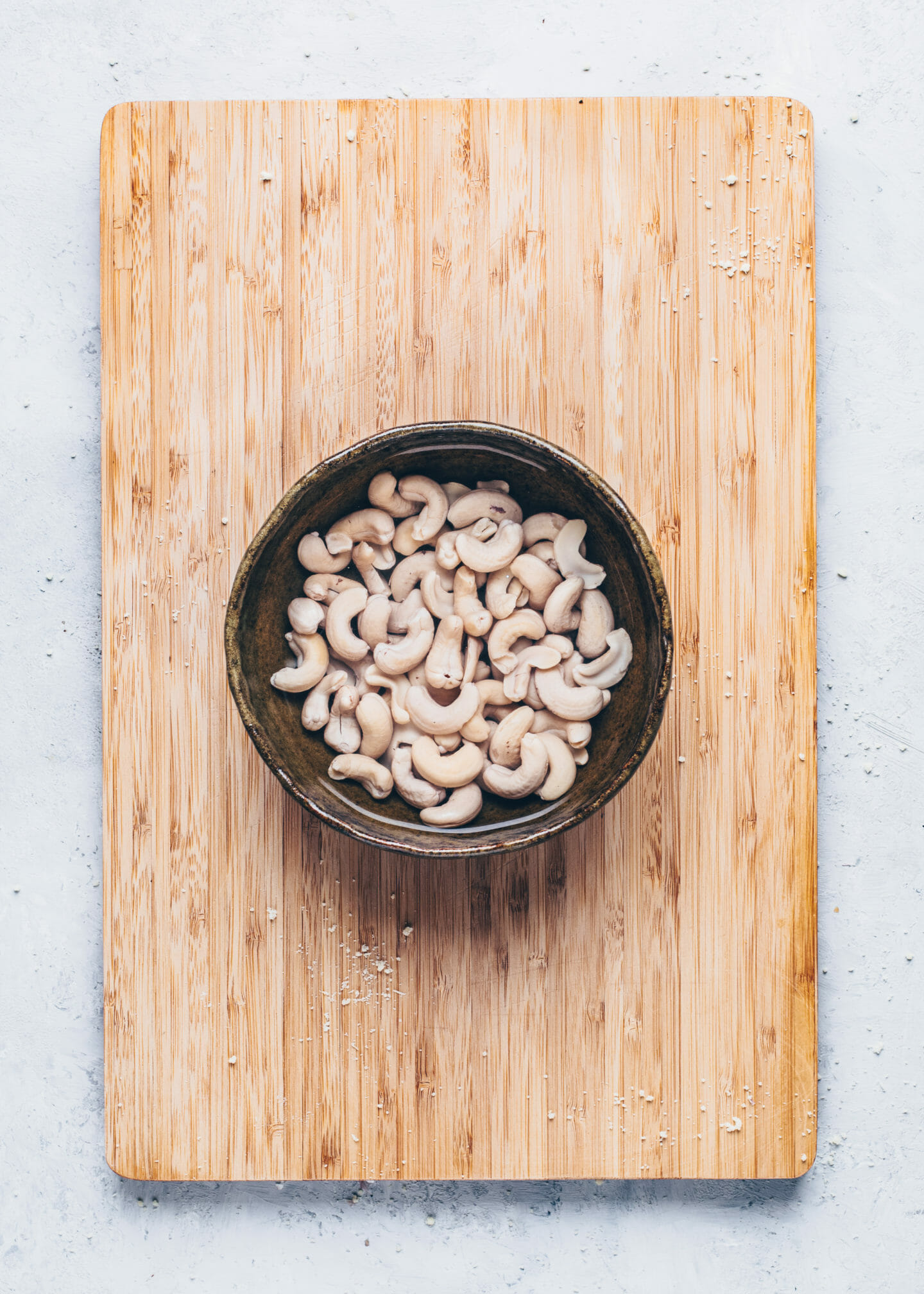 Soaking Cashews in a bowl with water