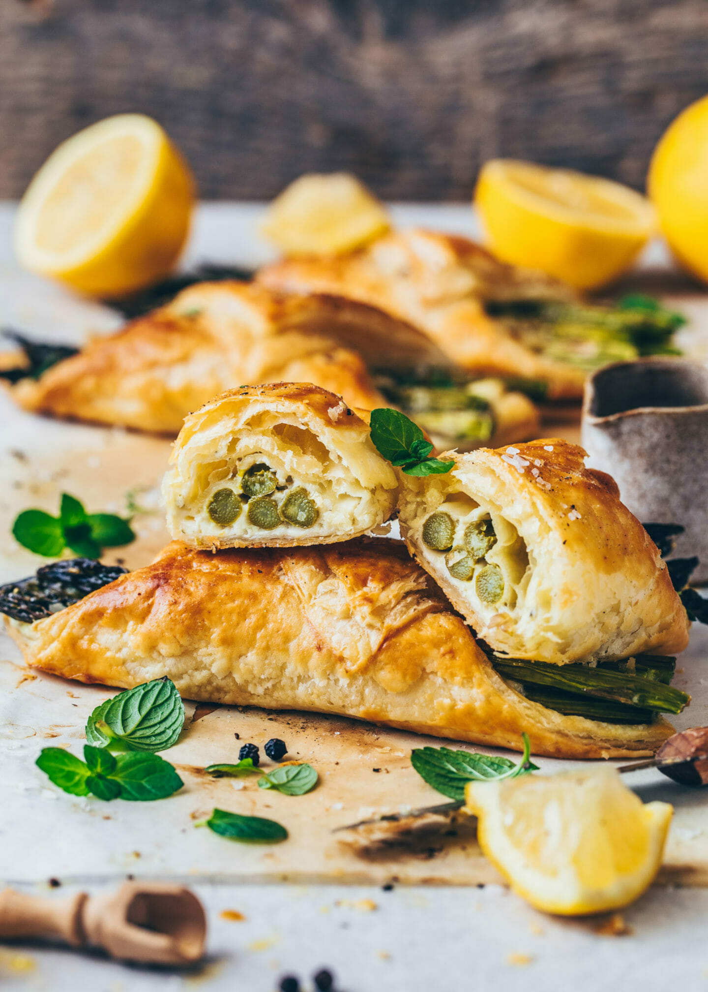 asparagus and cheese puff pastry bundles