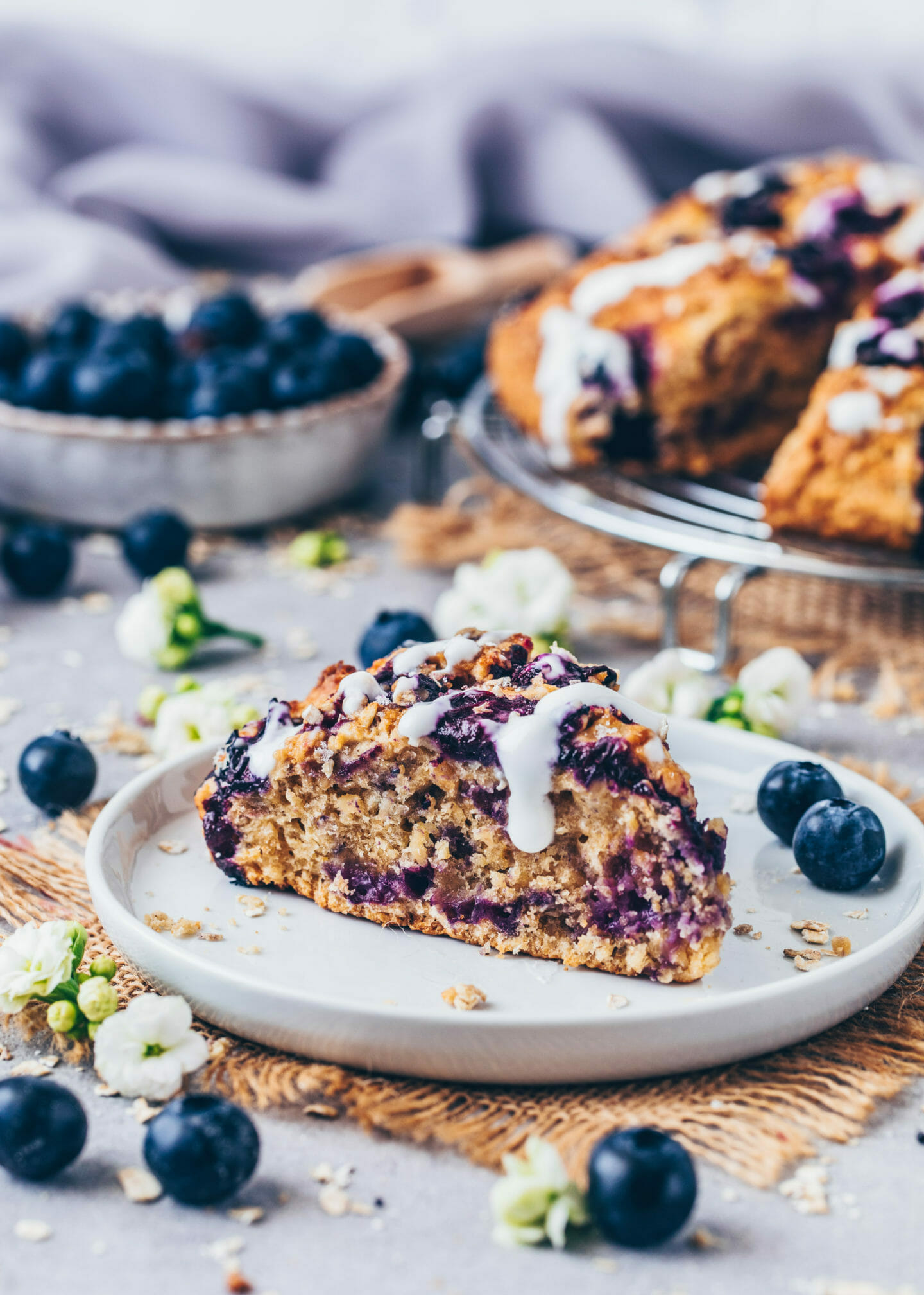 Blueberry Scones with oats and vegan coconut yogurt