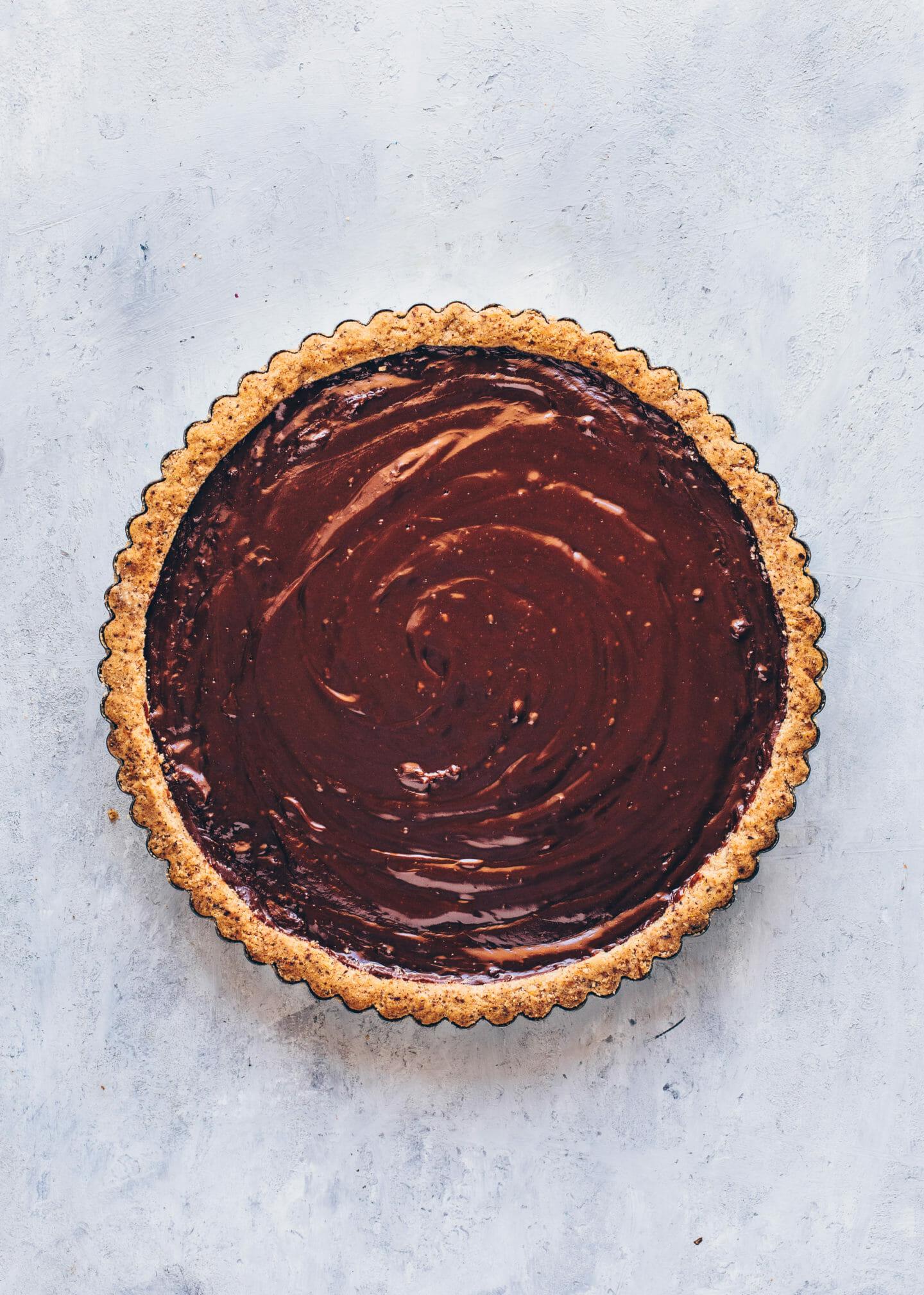 Haselnuss Nutella-Tarte mit Schokoladen-Ganache