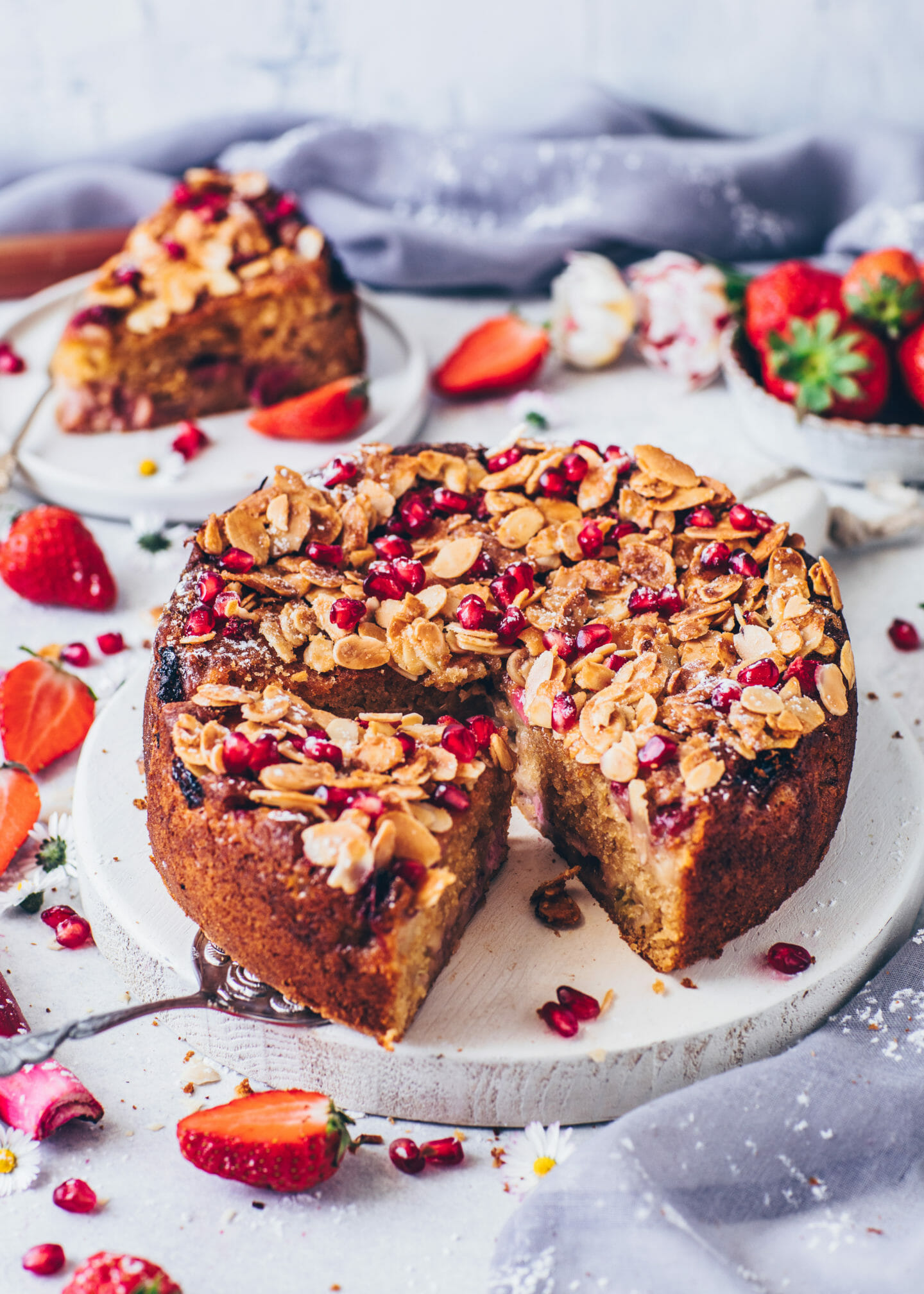 Strawberry Rhubarb Cake with Almond Topping (easy, vegan recipe)