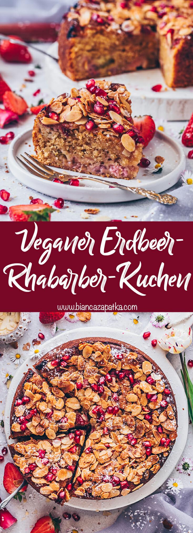 Erdbeer-Rhabarber-Kuchen mit Mandeln