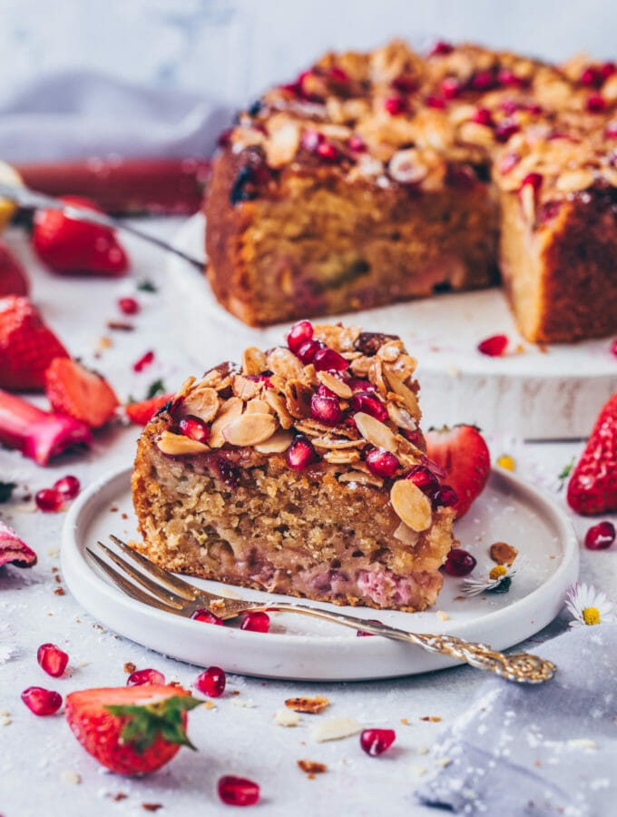 Strawberry Rhubarb Cake with Almonds (Vegan)