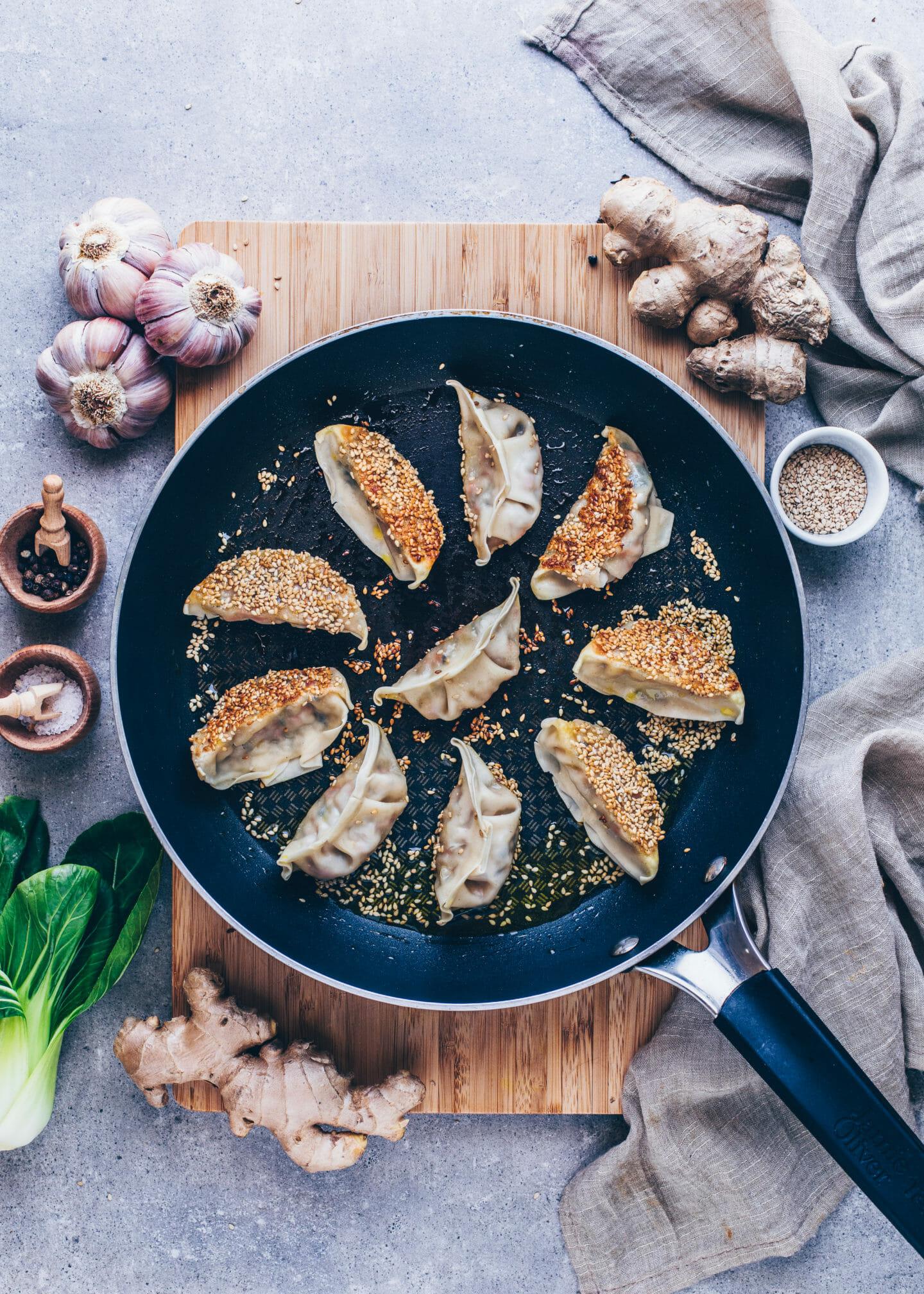 Crispy pan-fried sesame Gyoza (potstickers, dumplings)
