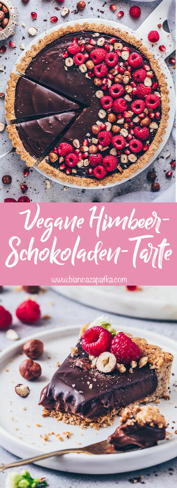 Himbeer-Schokoladen-Tarte (Vegane Nutella Schoko-Haselnuss Torte)