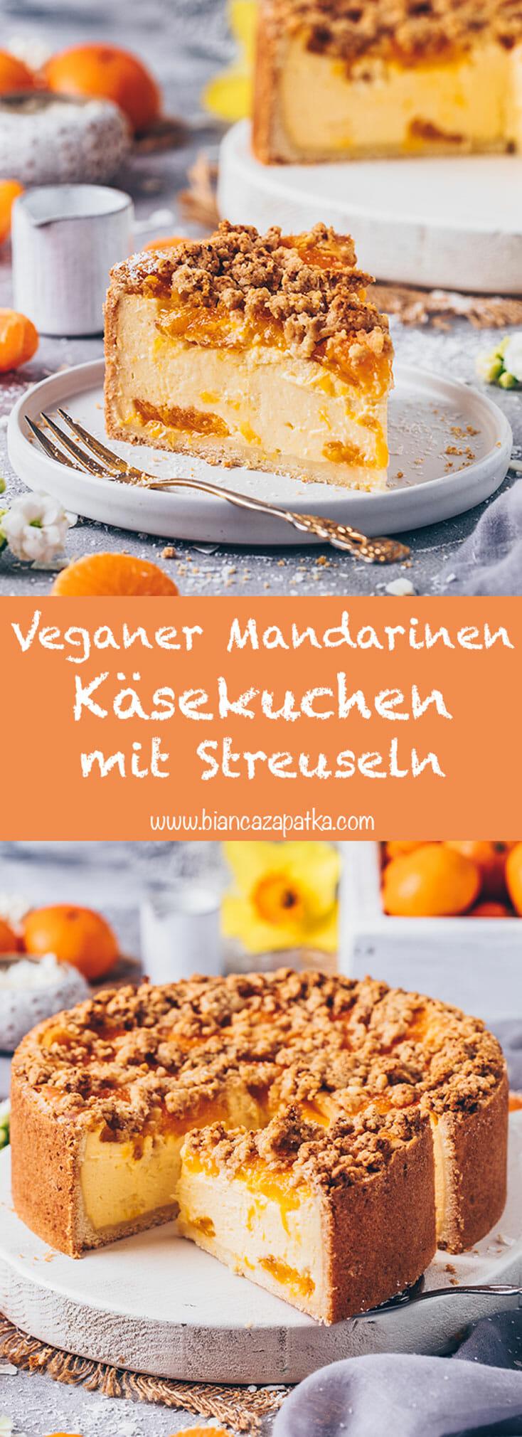 Veganer Mandarinen-Käsekuchen mit Streuseln