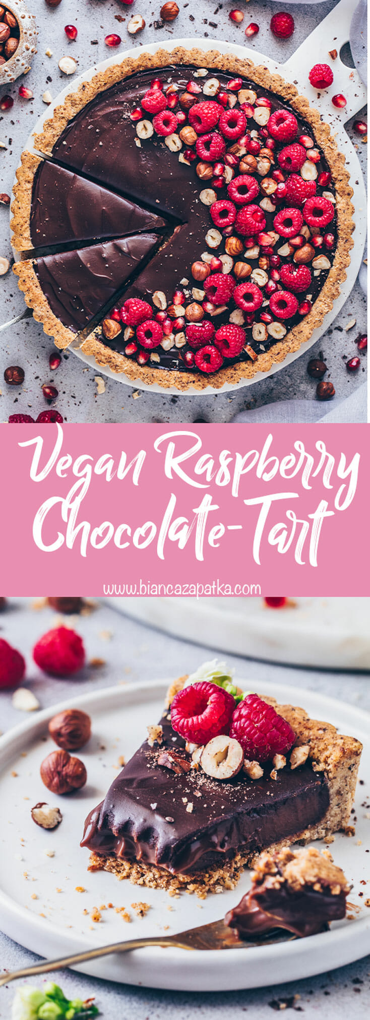 Raspberry Chocolate Tart with hazelnuts, Vegan Nutella Pie (food photography, food styling)