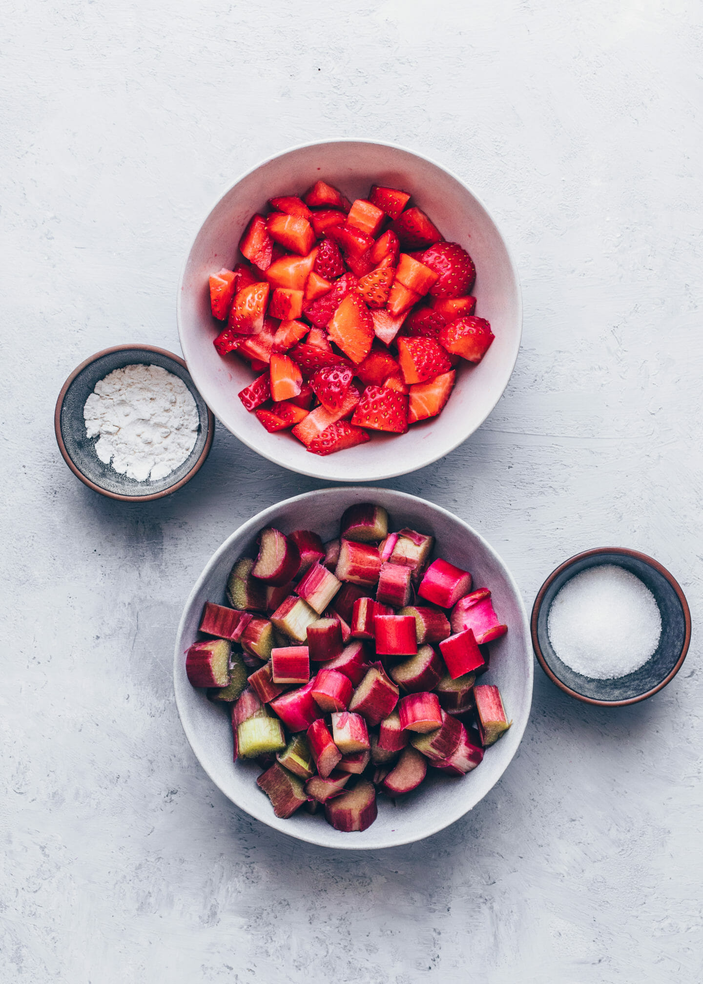 chopped rhubarb, strawberries, sugar and cornstarch