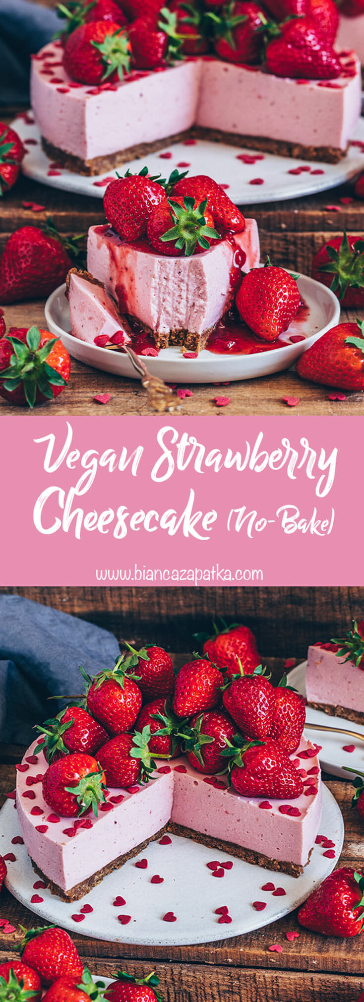 Strawberry Cheesecake (Vegan no-bake yogurt pie)