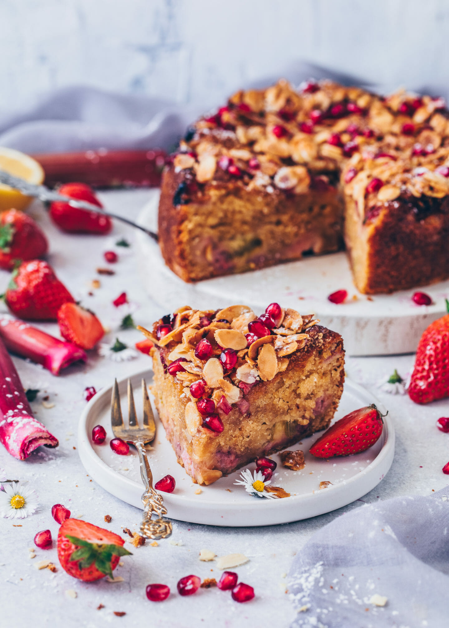 Strawberry Rhubarb Cake with Almonds and pomegranate (food photography, food styling)