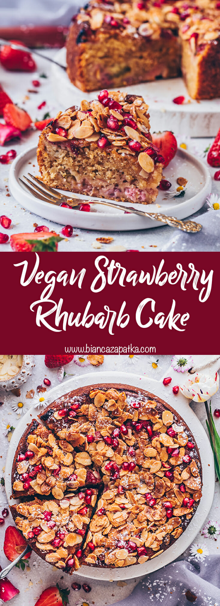 Strawberry Rhubarb Cake with Almonds (food photography)