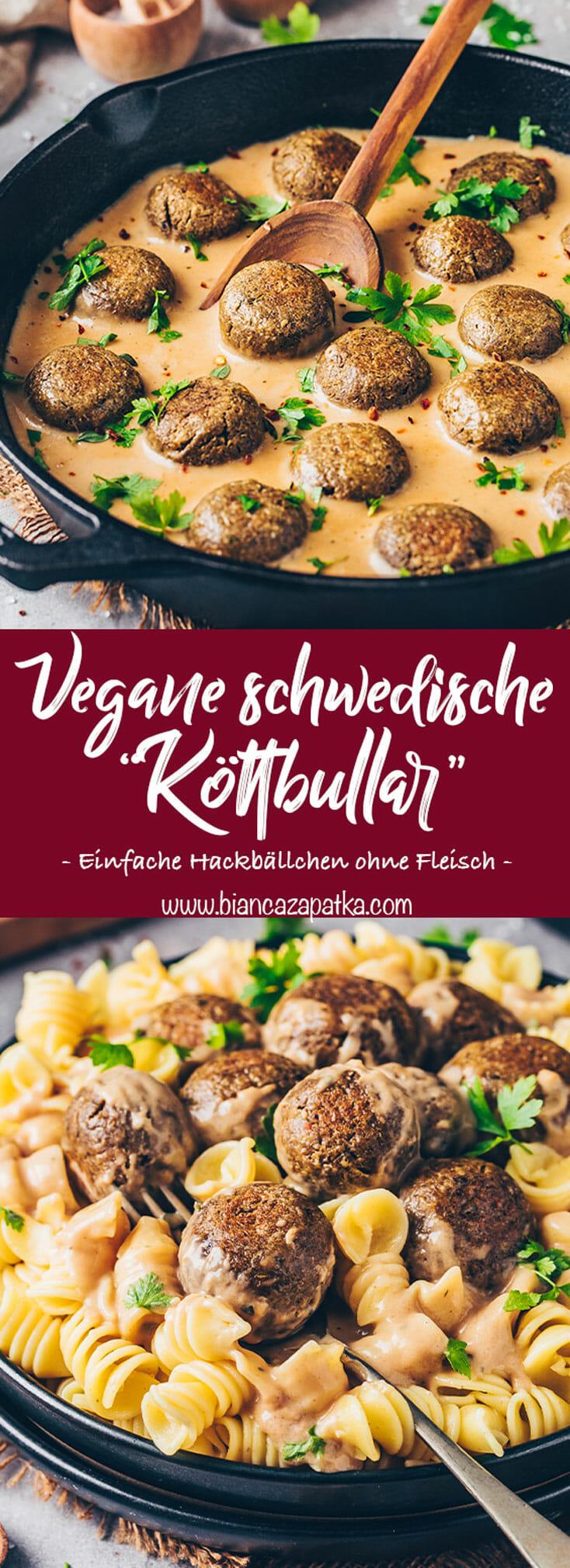 Vegane Schwedische Köttbullar (fleischlose Hackbällchen) in Rahm-Sauce