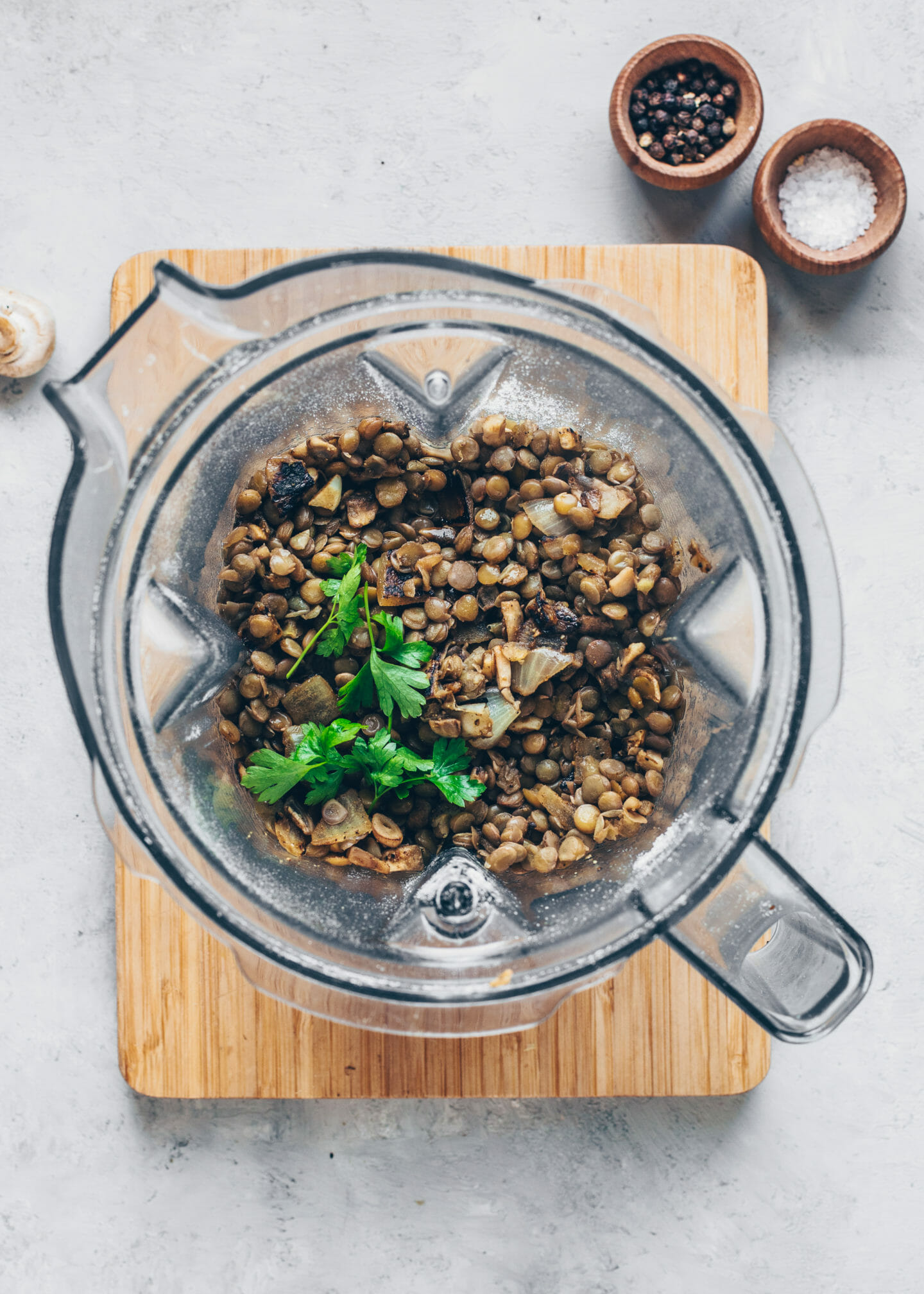 cooked lentils in a blender to make vegan Swedish meatballs