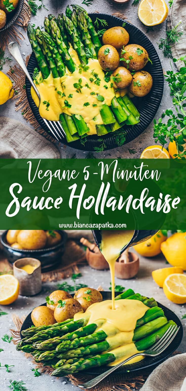 Vegane Hollandaise Sauce mit Spargel und Kartoffeln