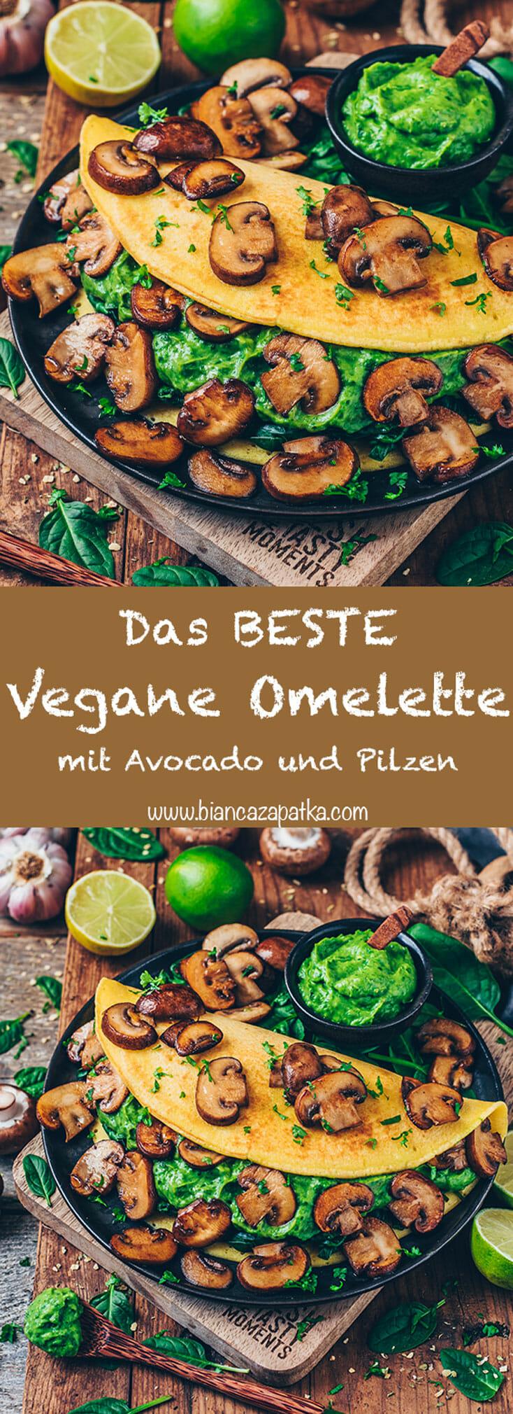 Veganes Omelette mit Avocado Guacamole und Pilzen