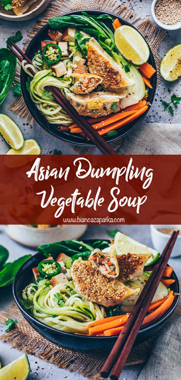 Asian Vegetable Soup with Dumplings (Gyoza, Potstickers)