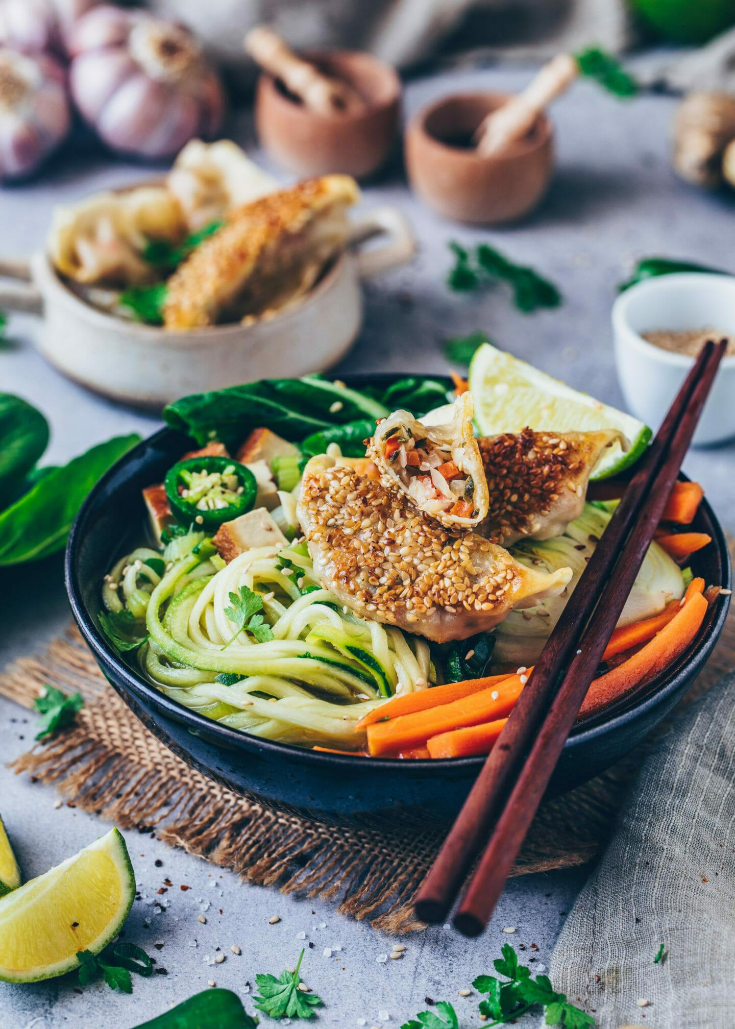Dumpling Soup with crispy sesame Gyoza and vegetables