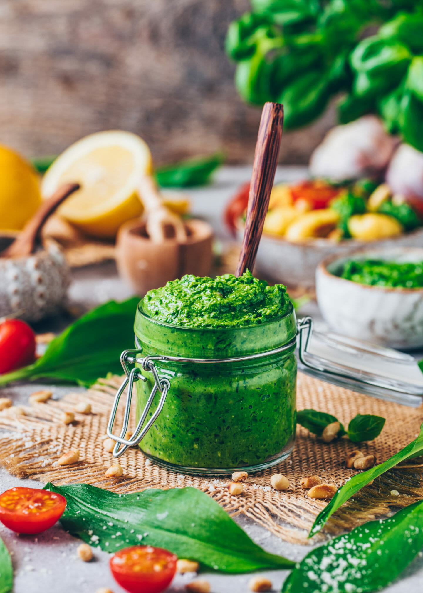 vegan wild garlic pesto in a jar (food photography)