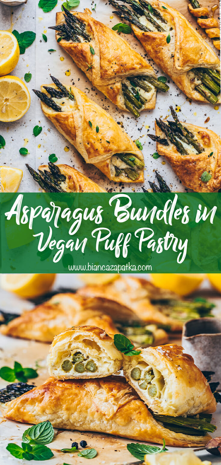 asparagus bundles and cheese wrapped in puff pastry