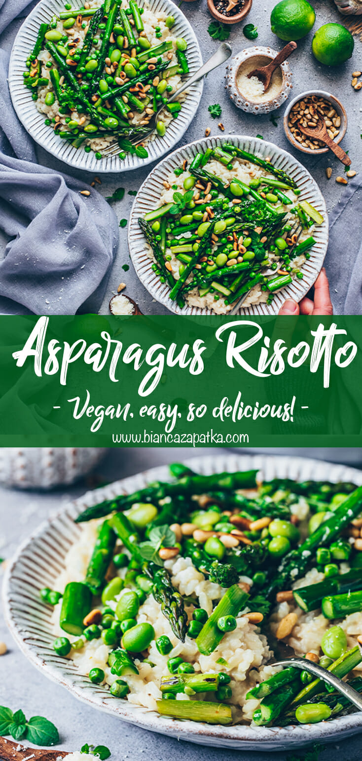 Risotto with asparagus, peas, edamame, and pine nuts
