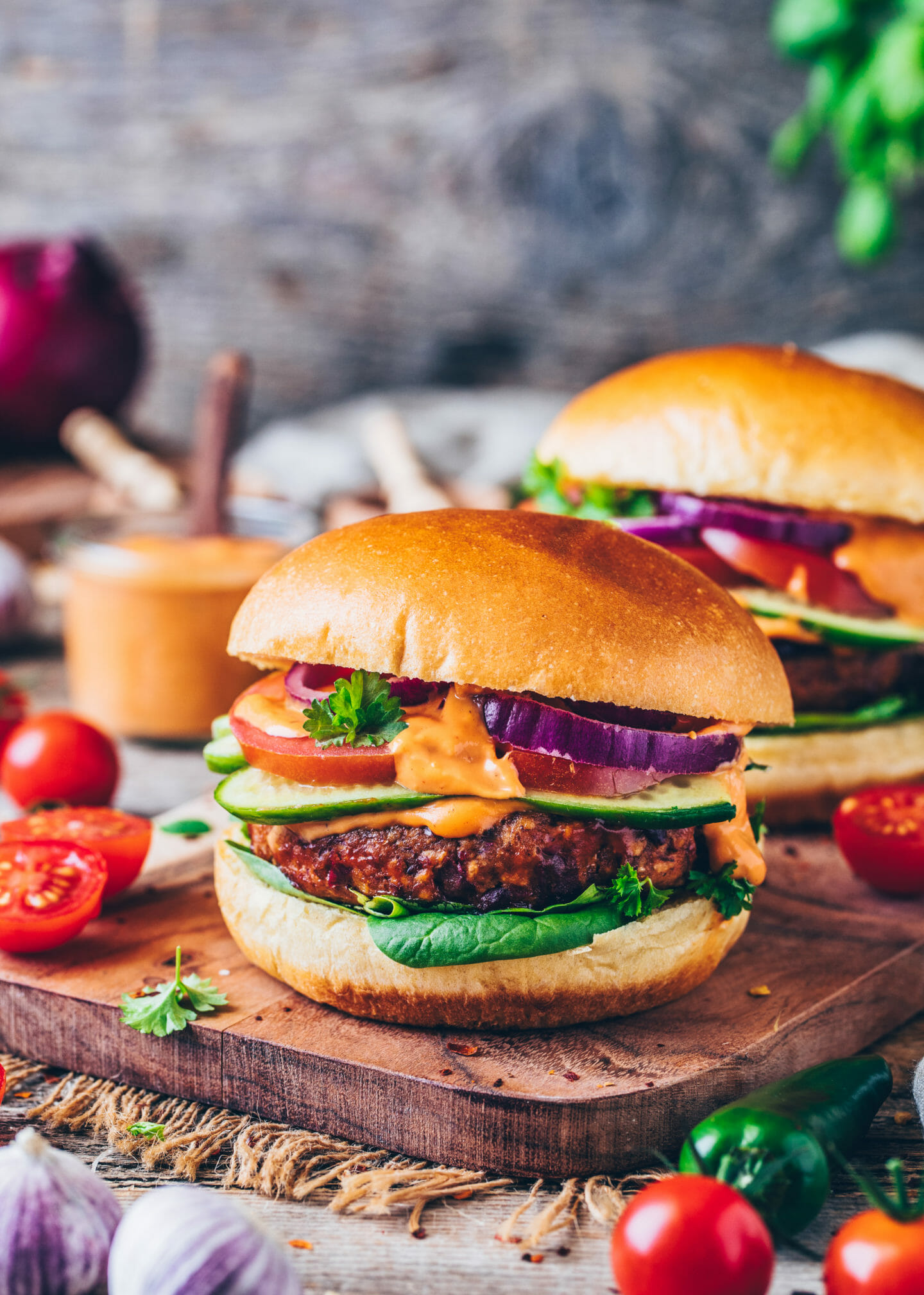 Best Vegan Burger with tomato mayonnaise sauce
