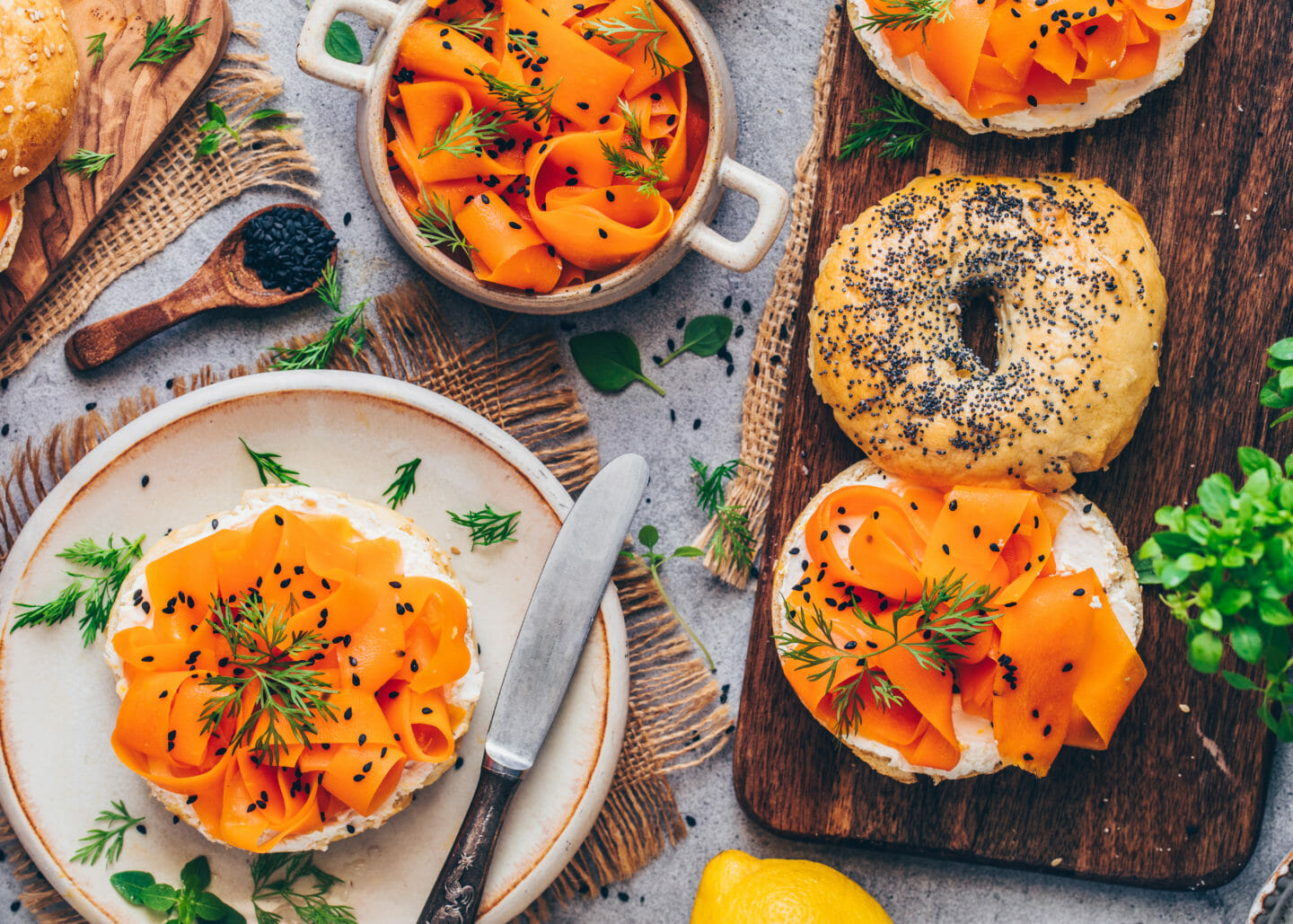 Carrot Lox Recipe (Vegan Fish, Salmon) and Bagels