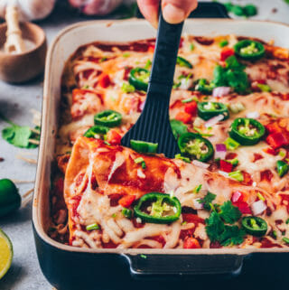 Veggie and Bean Enchiladas with Vegan Cheese and Jalapeño