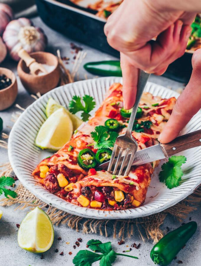 Enchiladas mit Bohnen und Mais