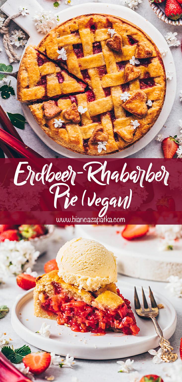Erdbeer-Rhabarber Kuchen mit Gitter (Pie)