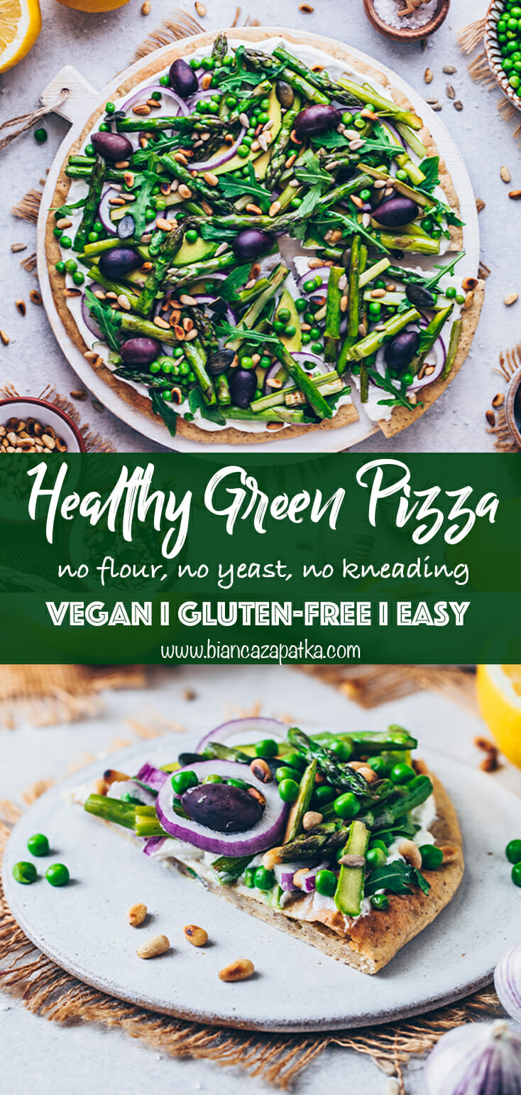 Green Goddess Pizza (healthy, gluten-free, vegan)