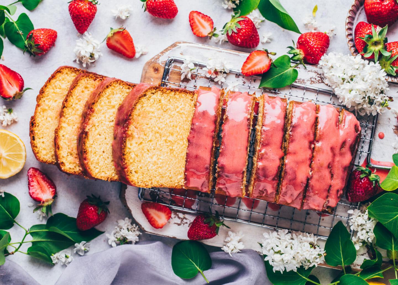 Lemon Cake Loaf with Strawberry Glaze (Food Photography)