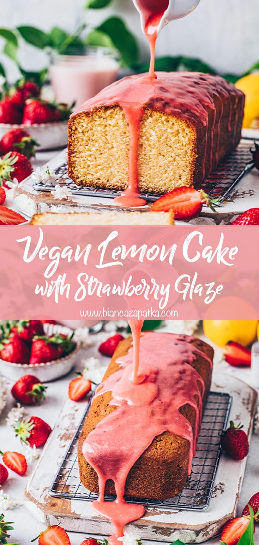 Lemon Cake with Strawberry Glaze (Vegan)