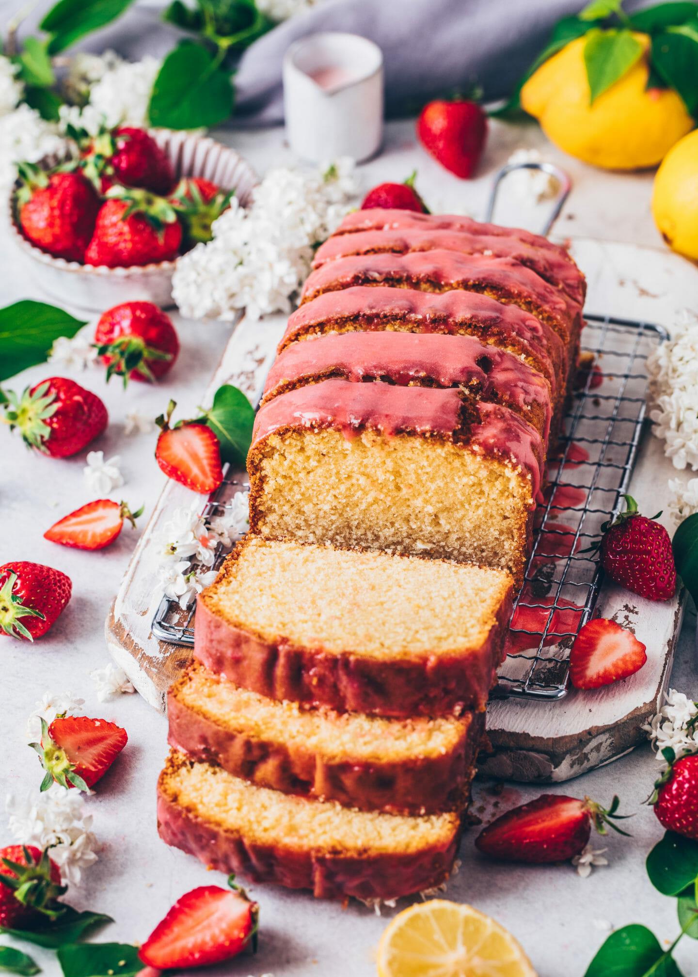 Best Vegan Lemon Cake Loaf with Strawberry Glaze
