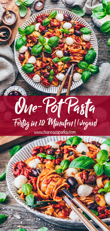 One-Pot Pasta Rezept (Italienische Nudeln mit Tomatensoße)