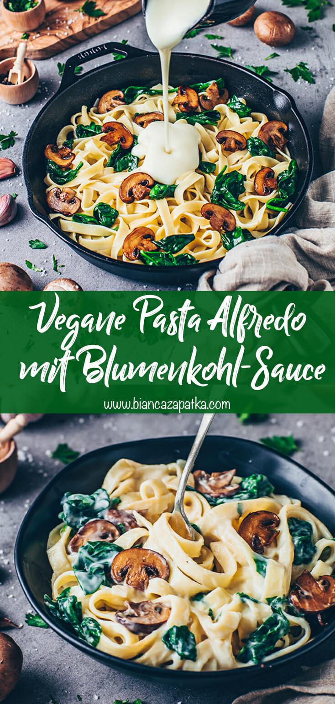 Pasta Alfredo mit Blumenkohl-Sauce (Vegane Nudeln)