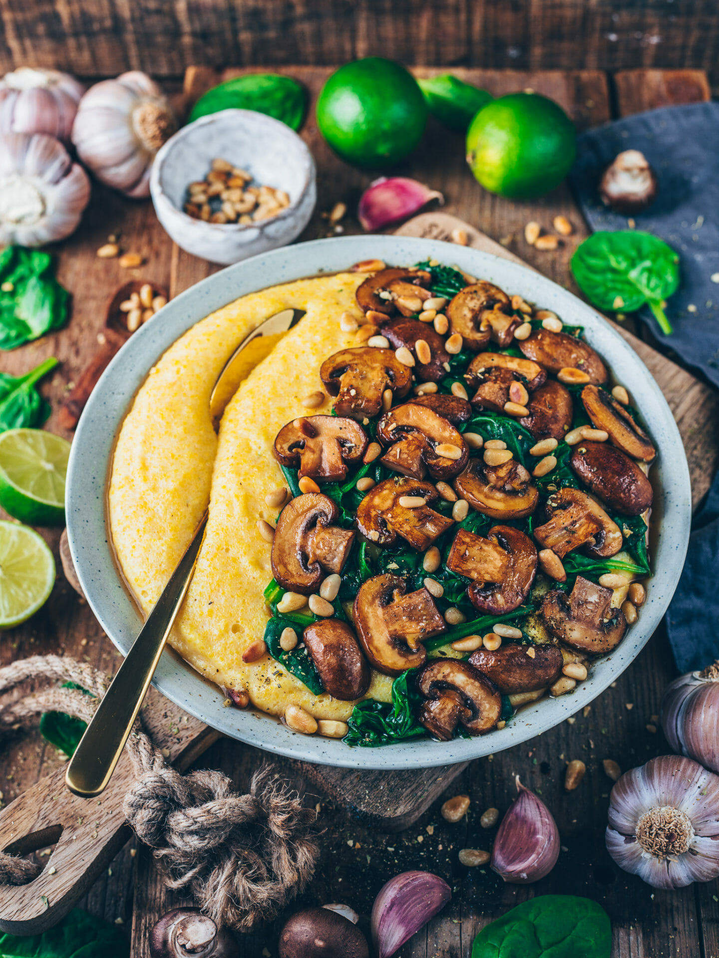 creamy polenta with mushrooms and spinach