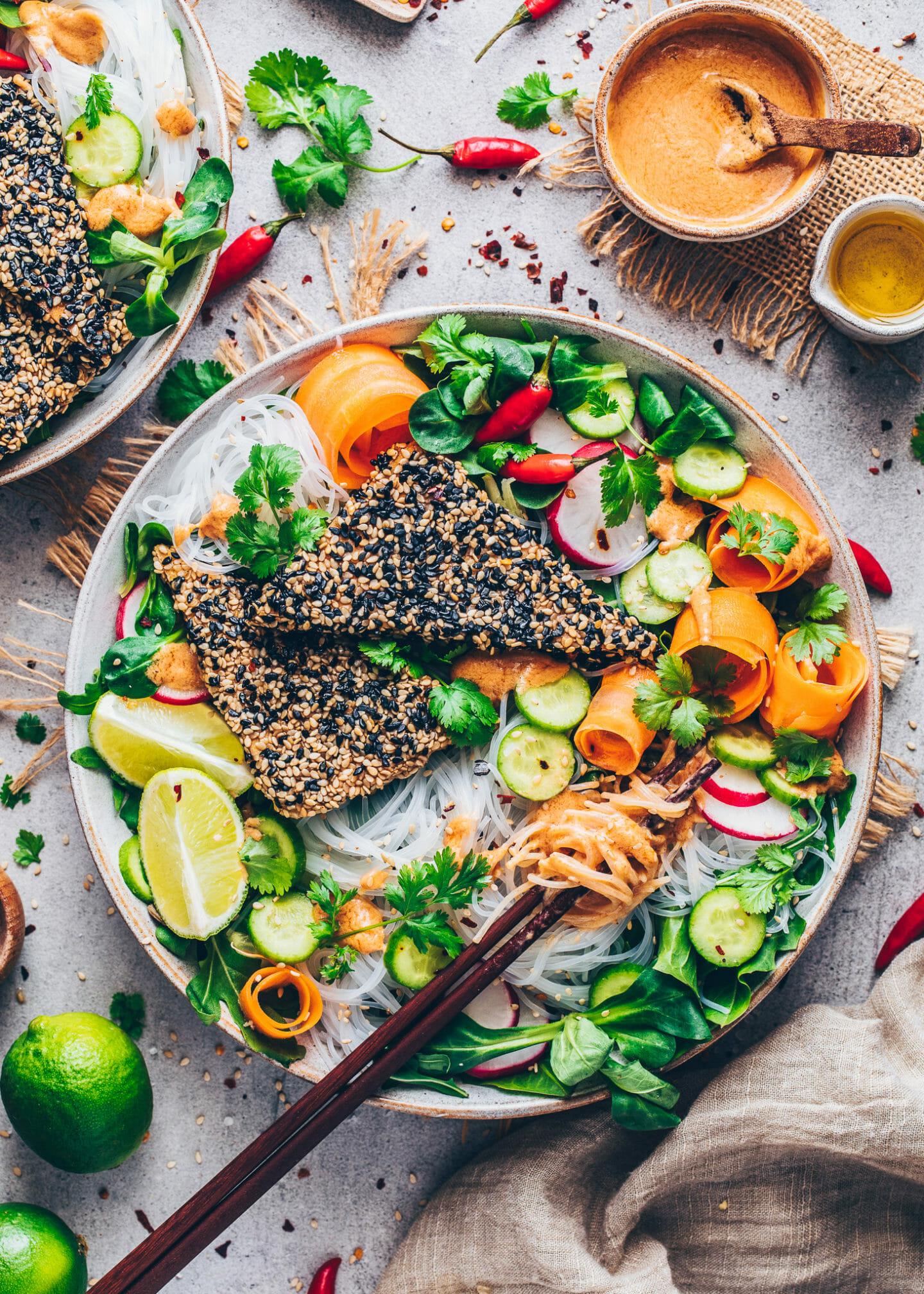 Vietnamese Rice Noodle Salad with Sesame Tofu and Peanut Sauce