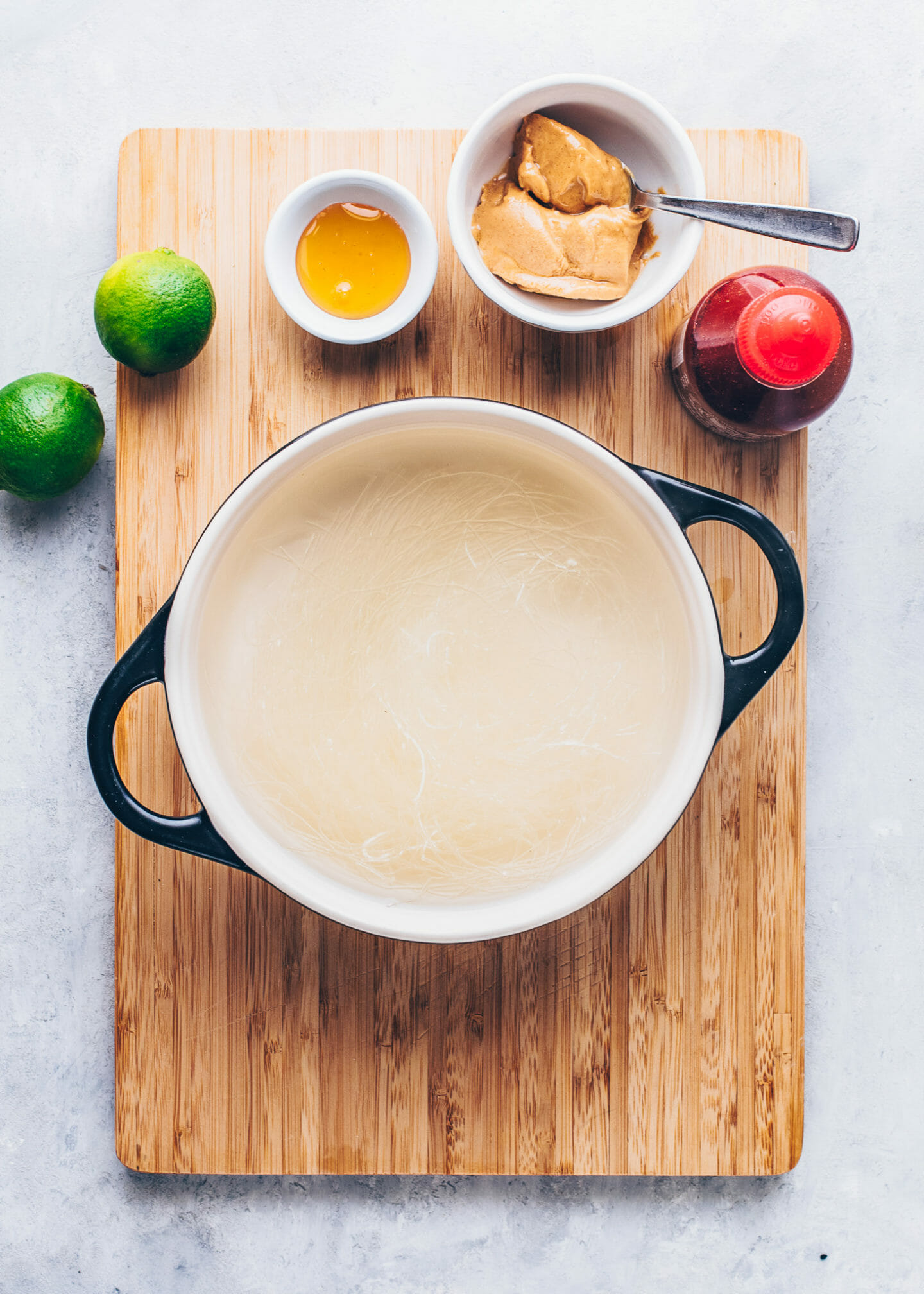 rice noodles soaked in hot water