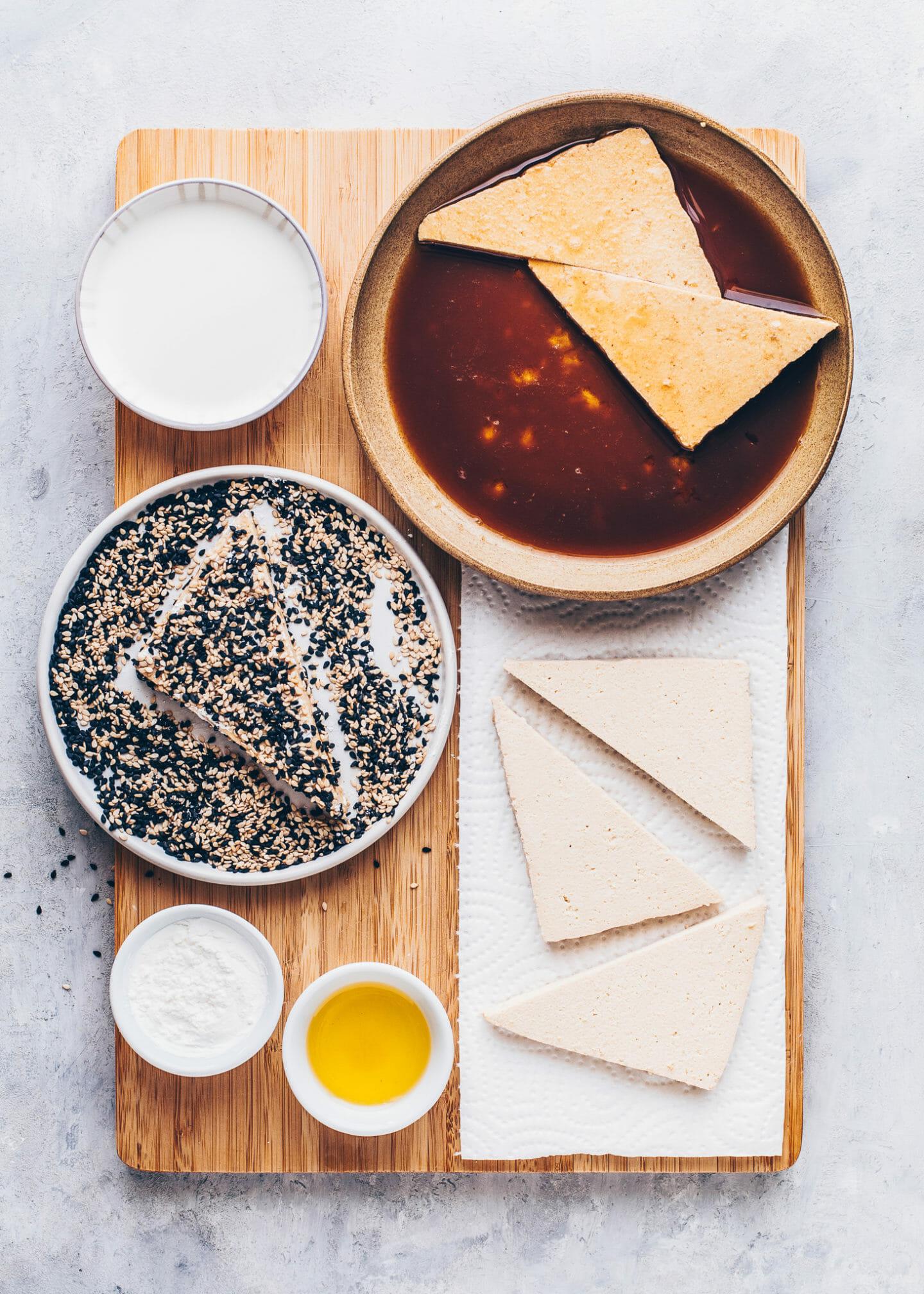 Tofu mit Sesam panieren